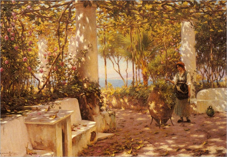 horaceFisher_a_peasant_girl_on_a_sunlit_veranda