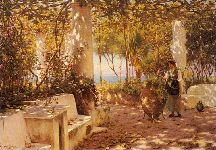 horaceFisher_a_peasant_girl_on_a_sunlit_veranda