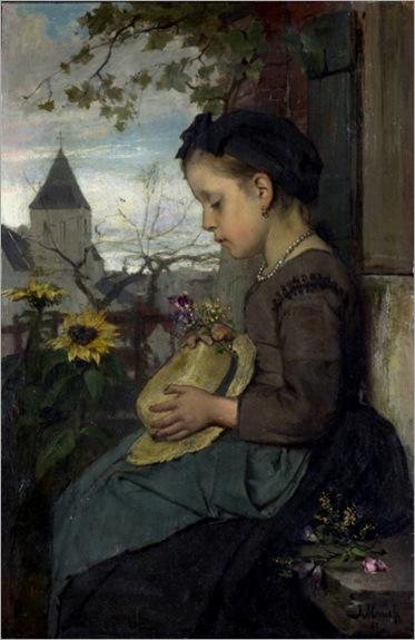 Jacob Maris - a girl seated outside a house -1867