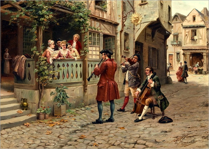 L. Picardet (French, 19th Century) - Traveling musicians
