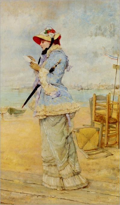 Lady by the Sea. Frederick Hendrik Kaemmerer (Dutch, 1839-1902). Oil on panel