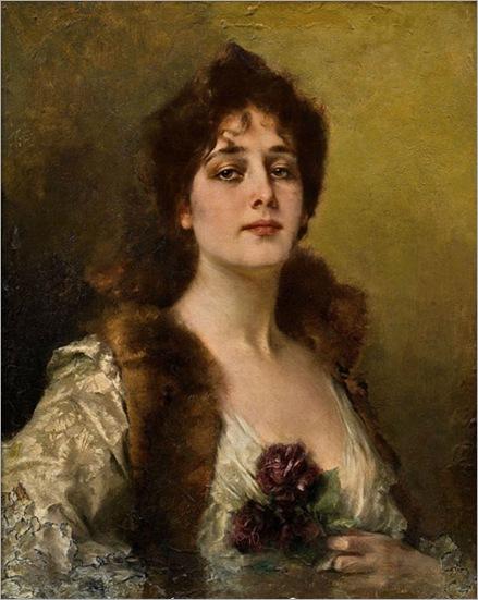 lady wih roses - Conrad Kiesel