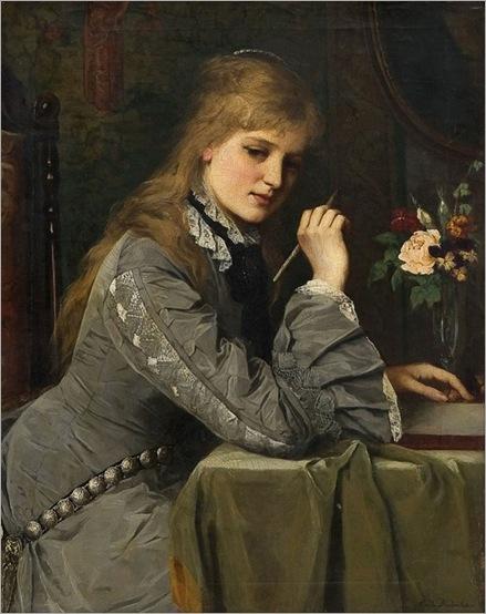 Letterwriter, by Johanne Mathilde Dietrichson. Norwegian (1837 - 1921)