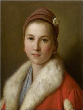 Pietro Antonio Rotari-Junge Frau in einem roten