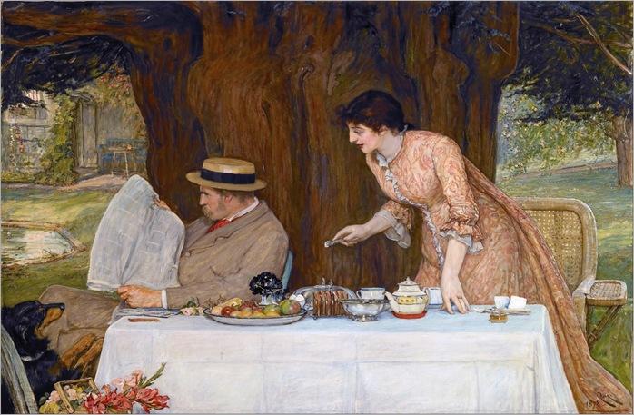 Robert Walker MacBeth -(scottish-1848-1910) Our First Tiff 1878