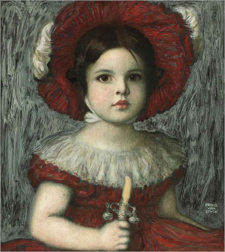 The artist's daughter Mary in a red hat, Franz von Stuck. Germany (1863 - 1928)