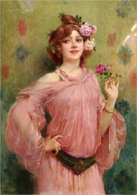2.A Beauty in Pink by Marie Félix Hippolyte-Lucas (French, 1854-1925)