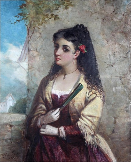 A Spanish Lady, Wearing a Black Lace Veil-by-Frederick-Gerald-Kinnaird_1868