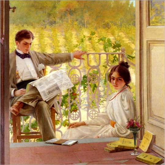 An Afternoono on the Porch (c.1895). Vittorio Matteo Corcos (Italian, 1859-1933). Oil on canvas