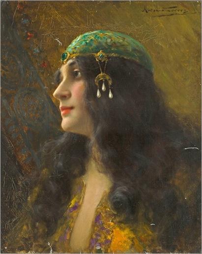 An Oriental beauty-Antonio-Torres-Fuster(Spanish, 1874-1945)_600x755