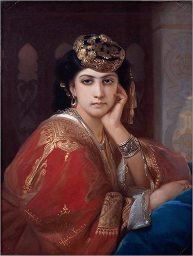 Constant Joseph Brochart (1816-1889 1899), Portrait d'Aicha. L'une des femmes d'Abd el Kader