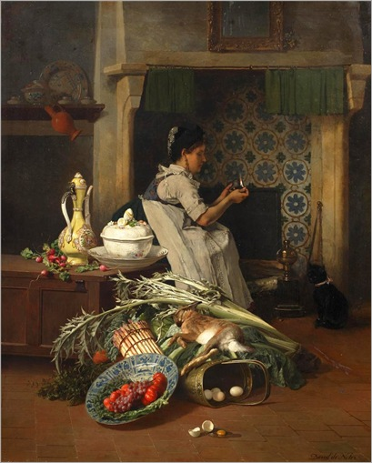 David Emile Joseph de Noter (Belgian, 1825-1892)- Kitchen maid with game and vegetables