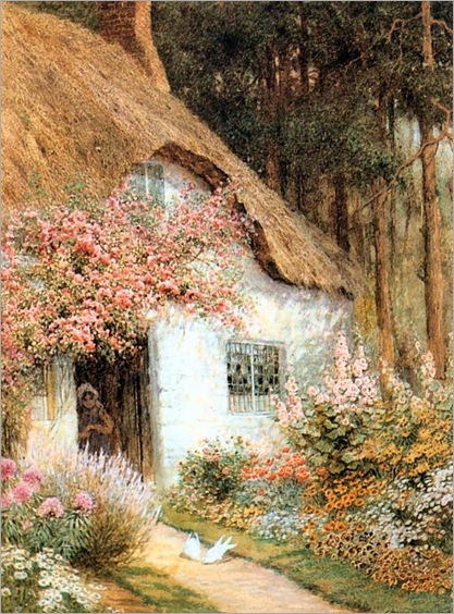 Doves Before Cottage - Arthur Claude Strachan