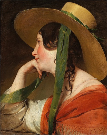 Friedrich Von Amerling - Girl with Straw Hat - 1840