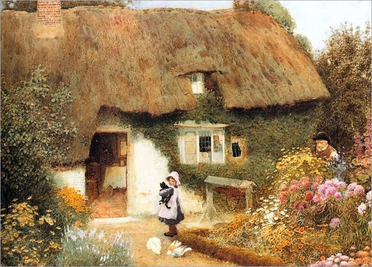 Girl and Kitten before Cottage - Arthur Claude Strachan