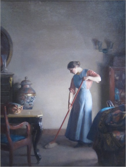 Girl Sweeping - William McGregor Paxton-1912