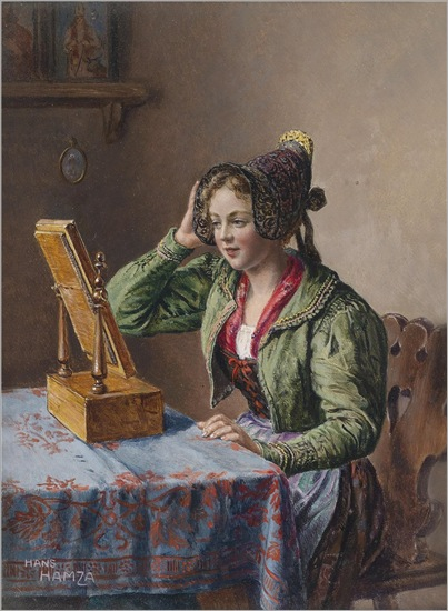 Hans Hamza - Young Girl in Front of the Mirror