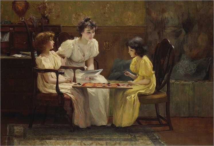 JONES Francis Coates (1857 – 1932) Young girls playing checkers