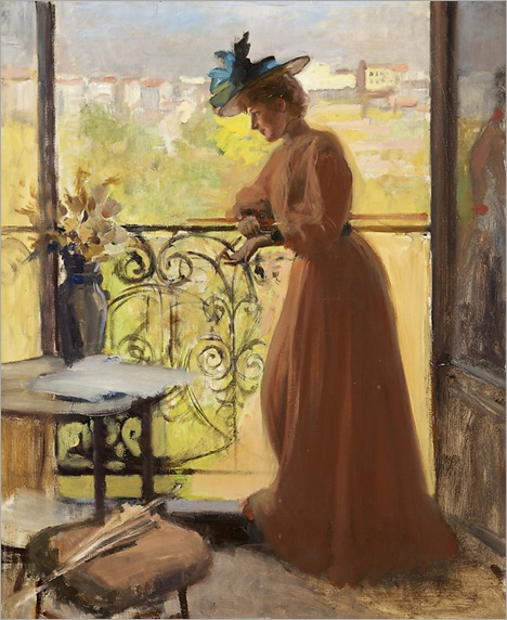 Lady on a Balcony (1884). Albert Edelfelt (Finnish, 1854-1905)