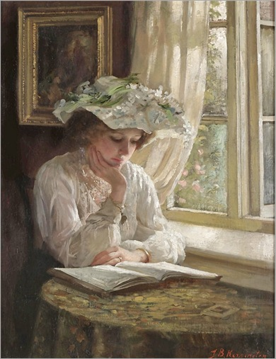 lady-reading-by-a-window-Thomas-Benjamin-Kennington(1856-1916)