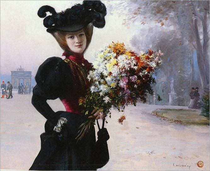 Lady with Flowers - Fernand de Launay