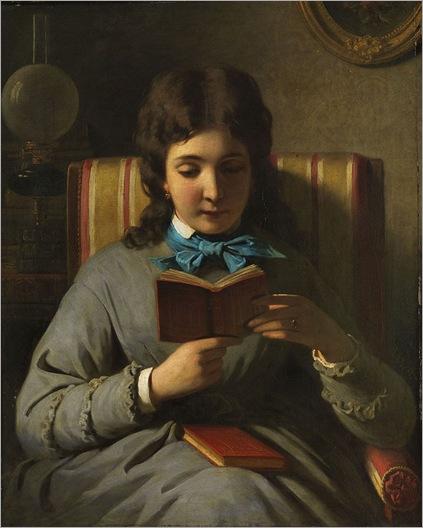 Lesendes Mädchen (1896) by Anton Ebert (Austrian, 1845–1896)