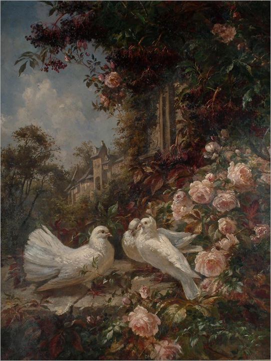Marie Oesterley (1842 - 1916) - Study of doves and roses, with a view of a house in the background