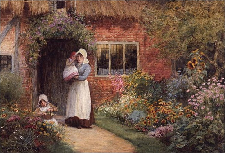 Mother and Children Outside a Cottage - Arthur Claude Strachan