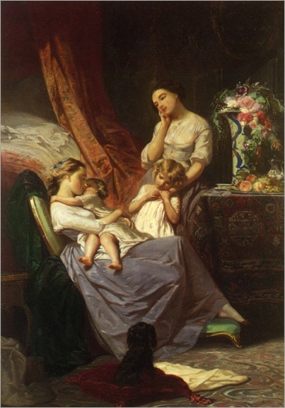 Motherly Affection (c. 1848) by Tony Johannot (1803-1852)