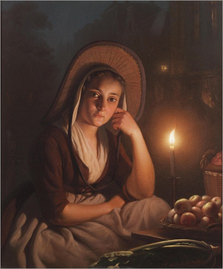 Petrus van Schendel (1806-1870) - A young market girl by candlelight