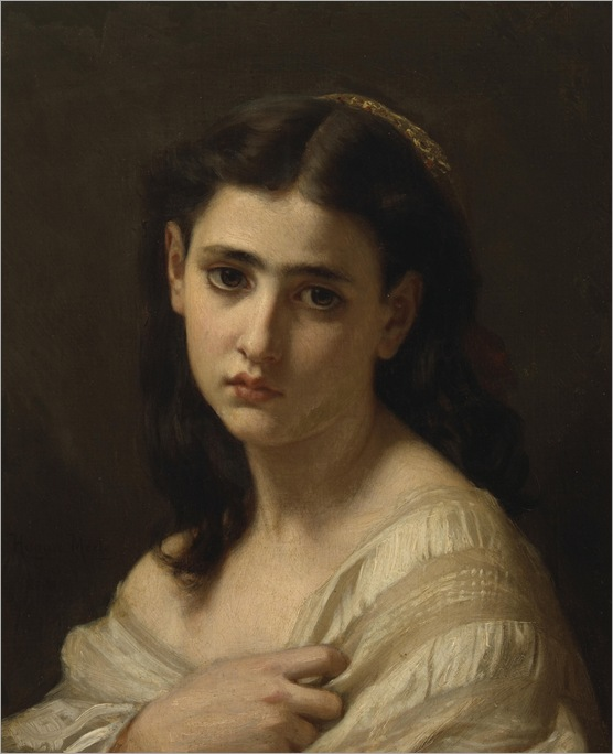 Thoughts far away, 1864-Hugues-Merle (French, 1823-1881)