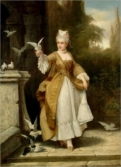 unknown artist (19th Century) - A lady on a terrace feeding doves
