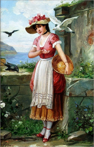 unknown artist (19th Century) - A pretty girl feeding birds