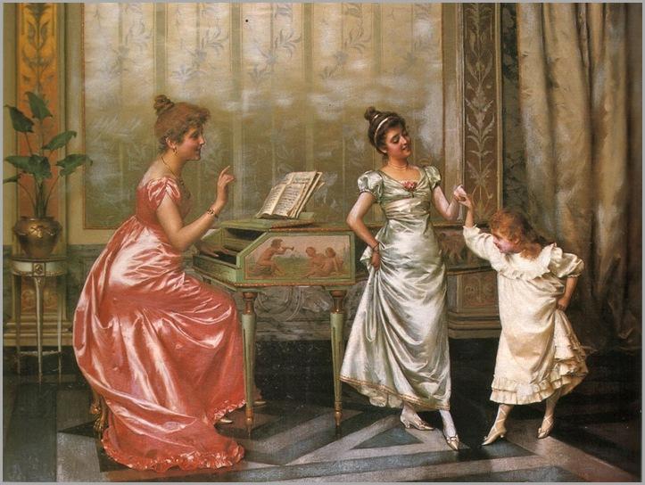 Vittorio Reggianini (Italian,1858-1938), The Dancing Lesson