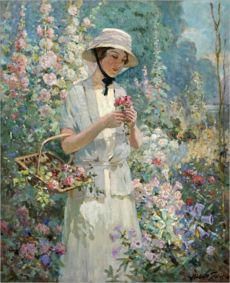 Woman with Flower Basket-Abbott Fuller Graves -1859-1936