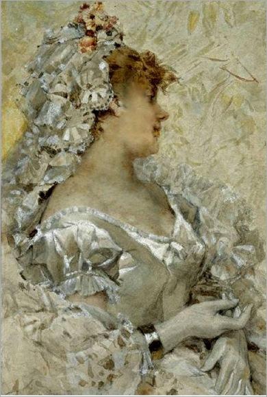 An Elegant Beauty In A White Dress-Frederik Hendrik kaemmerer