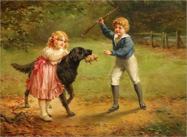 children-playing-Heinrich Lossow (1843 – 1897, German)