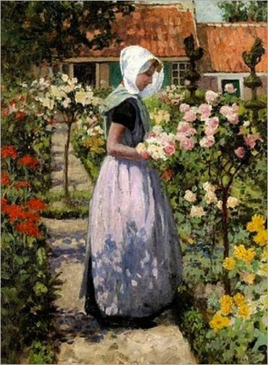 dutch-woman-in-a-garden-George Hitchcock