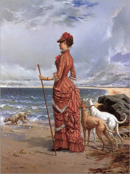 Elegant Lady Walking Her Greyhounds on the Beach by Edmond Louis Dupain