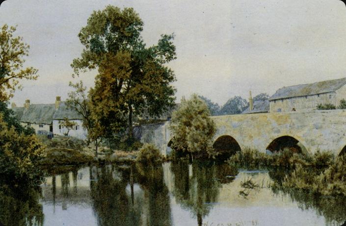 Garden_William_Fraser_A_Stone_Bridge_Leading_into_a_Village_1889