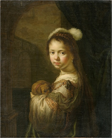 Govaert Flinck - A Little Girl with a Puppy in Her Arms