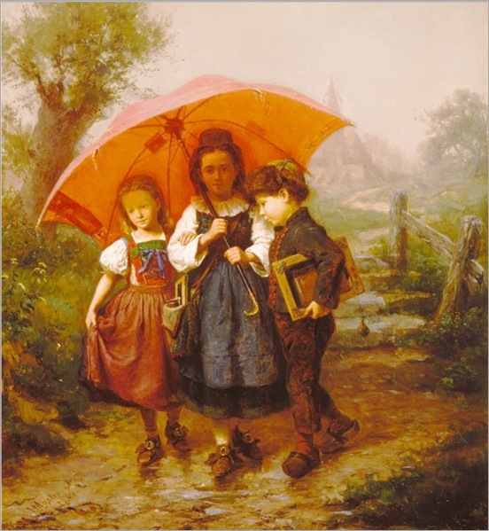 Henry_Mosler_Children_under_a_Red_Umbrella_1865