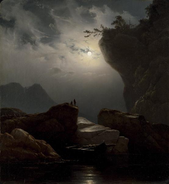 Knud Andreassen Baade  Kystlandskap i måneskinn, 1851