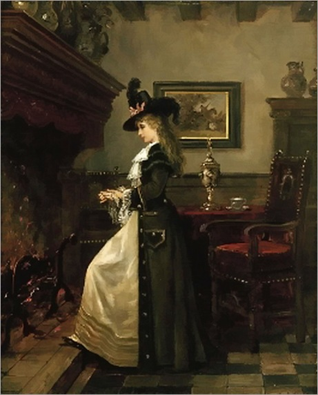Lajos-Ludwig-Bruck-An elegant lady, warming herself by the fireside in an interior