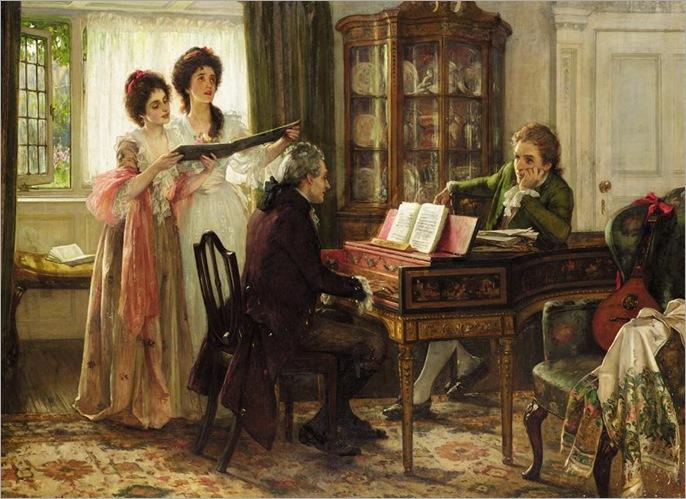 Margaret Isabel Dicksee (1858 - 1903) - Sheridan at the Linley's, 1899