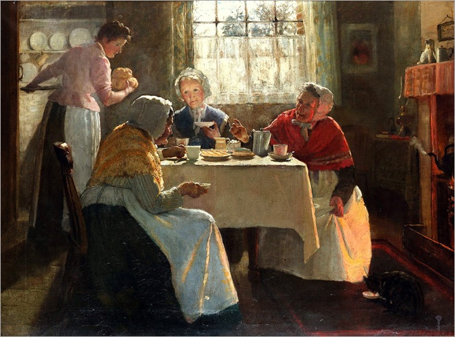 Mary Evalina Kindon (British fl. 1879-1918) - A cosy party