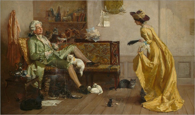 Percy Thomas MacQuoid (1852 - 1925) - Peg Woffington visiting an eccentric cat lover