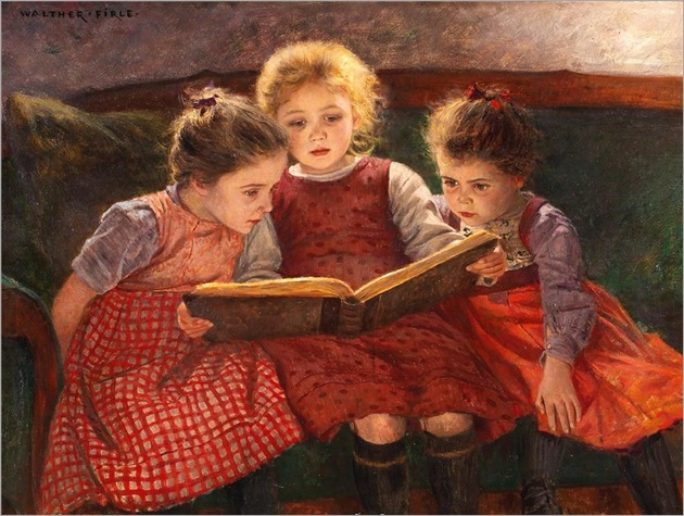 Three Reading Girls - Walther Firle (german painter)
