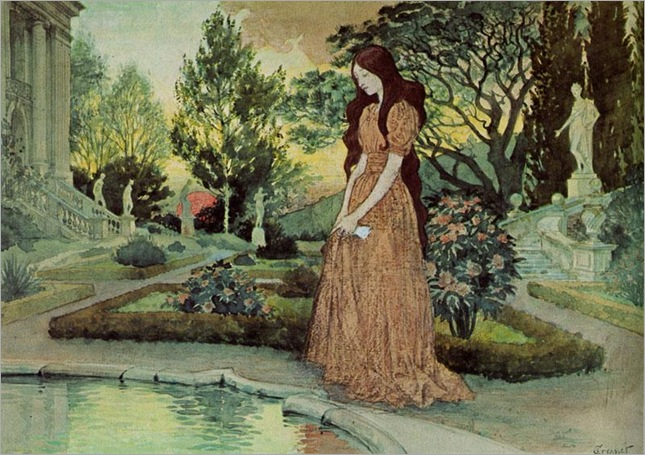 Young Girl in a Garden - Eugene Grasset (swiss painter)