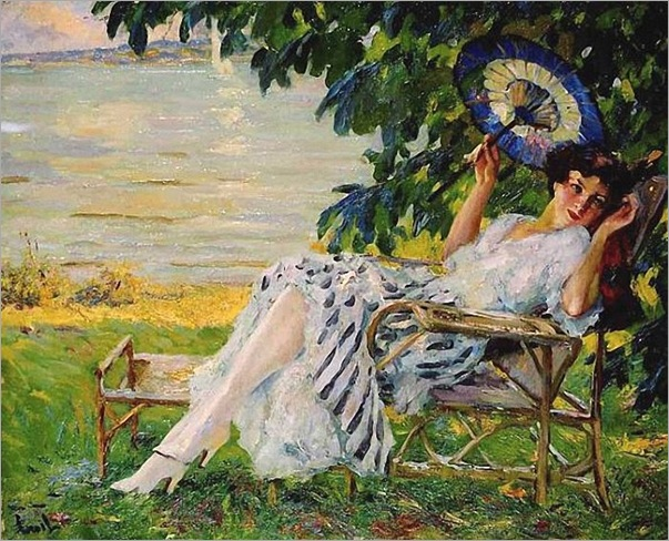 Young Girl with Umbrella, Edward Cucuel